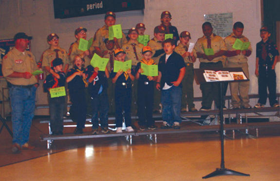 Cub Scout Pack 520 performs at Bunn Elementary PTA Meeting