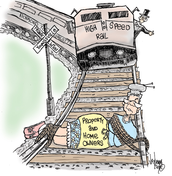 Editorial Cartoon: Train...Train...Take Me On Out of This Town