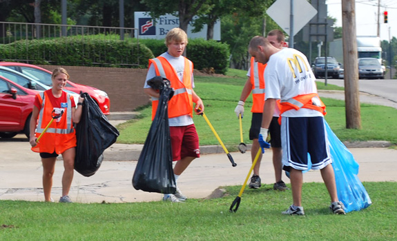 Louisburg College students clean up during annual Litter Sweep event