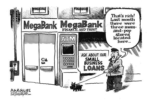 Editorial Cartoon: Mega Bank