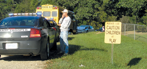School bus hit head on; no injuries