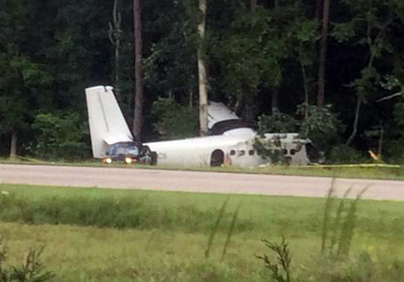 Aircraft veers into woods, two receive minor injuries