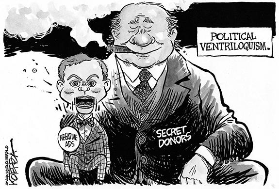 Editorial Cartoon: Secret Donors