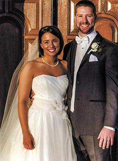 <i>Couple exchanges wedding vows in church ceremony</i>