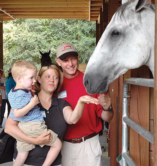 <i>Horsing around on the farm tour</i>