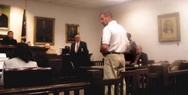 <FONT SIZE=5>Barrick back in courtroom</font>
